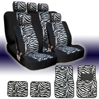 New and Unique YupbizAuto Brand Safari Zebra Print Universal Size Car Truck SUV Seat Covers and Floor Mats Set High Quality Velour and Mesh Material Gift Set Smart Pocket Feature