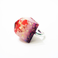 Resin Cube Ring Adjustable Mineral Crystal Statement Glitter Pastel 90s Baby Hot Pink Hearts Love Diamond Iridescent Cocktail White Tiny Big