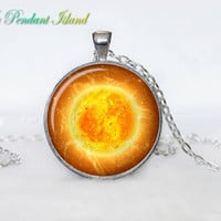 SUN Pendant  SUN Necklace Galaxy necklace Space pendant sun orange Jewelry Necklace for him  Art Gifts for Her(P11H06V02)