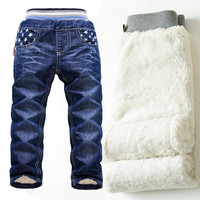 NZ247,High quality 1pcs Fashion winter thick warm kids clothes stars baby pants clothing ,girls trousers children jeans for boys