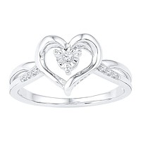 10kt White Gold Women's Round Diamond Solitaire Heart Ring 1/20 Cttw - FREE Shipping (US/CAN)
