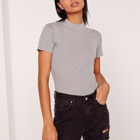 Missguided - Basic Short Sleeve High Neck Bodysuit Grey