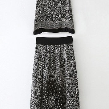 Fashionable Printed Backless Sleeveless Belted Long Dress