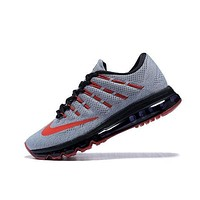 NIKE Trending Fashion Casual Sports Shoes AirMax Toe Cap hook section knited Grey red hook black soles