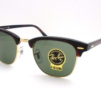 Cheap Ray Ban Clubmaster 3016 W0366 Tortoise Gold G15 Green Sunglasses New AUTHENTIC outlet