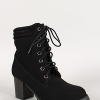 Lace Up Chunky Heel Lug Sole Work Bootie