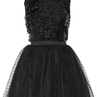 REDValentino - Embellished silk-georgette and point d'esprit mini dress