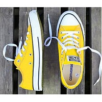 Converse classic tide brand low men and women models versatile canvas shoes Yellow