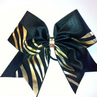 cheer bow black and gold zebra