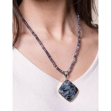 Pietersite and Iolite Beaded Necklace - One of a Kind