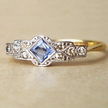 One of a Kind Art Deco Sapphire & Diamond Engagement Ring, Antique Sapphire Platinum and 18k Gold Ring, Approximate Size US 7.25
