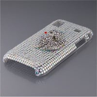 Crystal Bling Hard Skin Case with Poodle for Samsung Galaxy i9000 (Silver)