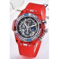 HUBLOT Tide brand fashion simple and transparent men and women waterproof quartz watch Red