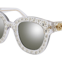 Gucci - GG0116S-001 Crystal Sunglasses / Silver Mirror Lenses