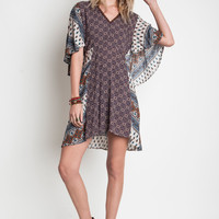 Printed Tie Back Dress - Taupe Mix