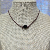 Black Onyx Semi-Precious Stone Genuine Leather Cord Choker Necklace Pearl Slip Knot Closure