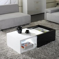 Karla Black and White High Gloss Finish Functional Coffee Table