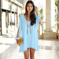 V-Neck Split Long Sleeve Chiffon Loose Short Dress