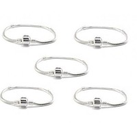 Buckets of Beads 5 Pack of 8 Inch  Barrel Clasp Charm Bracelets