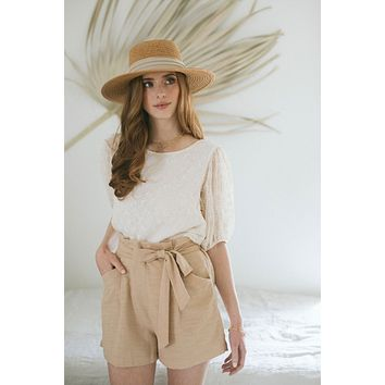 Sara High Waist Paperbag Shorts