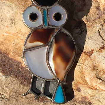 Zuni Owl Pin Sterling Silver Shell Turquoise
