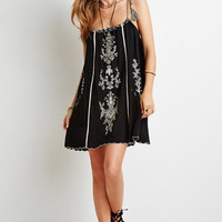 Floral-Embroidered Cami Dress