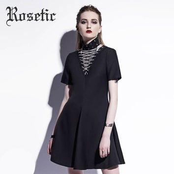 Rosetic Gothic Dress Black Summer A-Line Mesh Lace-Up Patchwork Women Short Casual Dresses 2017 Fashion Short Sleeve Goth Dress
