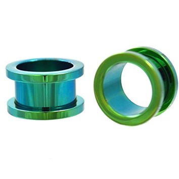 Pair of Green Titanium Plated Steel Screw Fit Ear Plugs Tunnels Gauges- 5/8 Inch (16MM)