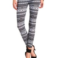 Cotton Tribal Print Leggings by Charlotte Russe - Black/White