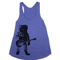 Womens Astronaut Guitar Outer Space Tri-Blend Racerback Tank - American Apparel tanktop shirt - XS, S, M, and L (9 Color Options)