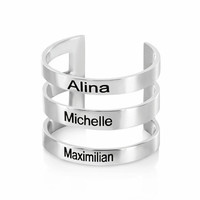 Extra Wide Name Ring, Adjustable Ring, Triple Ring, Personalized Name, 3 Ring, Engraved Names, Family Jewelry, Children Names, Ring For Mom