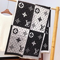 Onewel LV Louis vuitton fashion hit - off two-faced patchwork coloured embossed letter shawl scarf for lovers