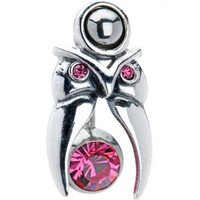 .925 Sterling Silver Pink Sparkle Tribal Head Tattoo Belly Shield Ring
