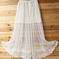 White Panel Sheer Mesh Pleat Maxi Skirt with Lace Embroidery Hem
