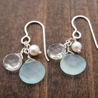 chalcedony, green amethyst and pearl earrings