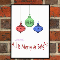 Christmas Digital Print, Holiday Printable Wall Art, Instant Download, Xmas PDF, Ornaments, All is Merry and Bright, Christmas Song Decor
