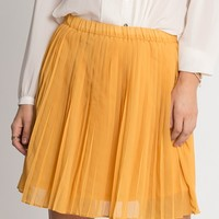 Emma Pleated Skirt In Yellow   Ruche