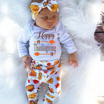 4Pcs Infant Babies Long Sleeve Onesuit+Pants+Hat+Headband Letter Thanksgiving Day Outfits Newborn Kids Baby Girl Boy Outfit Set