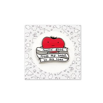 From My Head Tomatoes Hard Enamel Silver Pin
