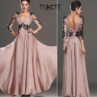 The new autumn bud silk v-neck backless long-sleeved dress long gown Senior party dresses Temperament is the dressLuxurious