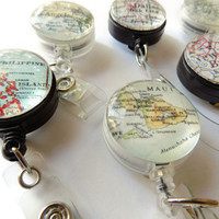 Personalized Id Badge Reel, Custom Retractable Map Badge Gift, Personalized Badge Reel Holder, Id Tag, Sister Gift, Nurse Gift, Aunt Gift