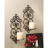 Black Iron Scrollwork Candle Wall Sconce Duo