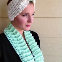 Charity Item, Infinity Scarf and Headband, Mint and Ivory