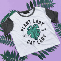 Plant Lady Is The New Cat Lady Ringer Crop Tee