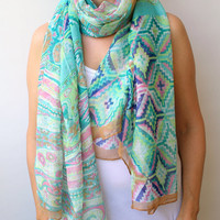 NEW!  Aztec Tribal Scarf Soft Cotton Scarf Chevron Geometric Printed Scarf Mint Green Aqua Pink Beach Pareo Sarong Urban Scarf