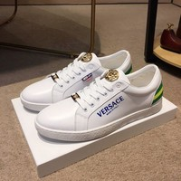 DCCK Versace Men's Leather Fashion Low Top Sneakers Shoes