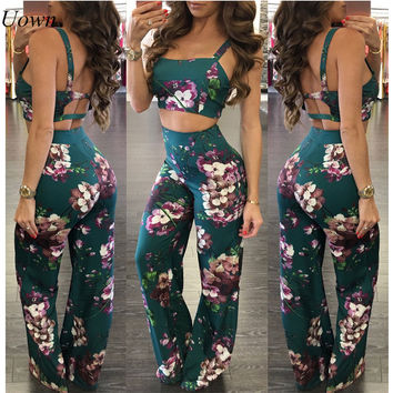 Stappy Crop Top and Wide Leg Flared Pants Set