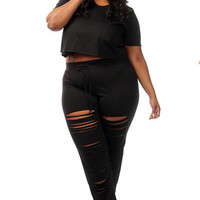 Black Plus Size Crop Top Distressed Pants Set