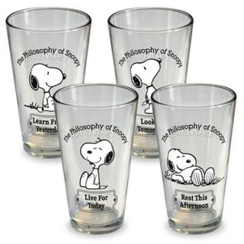 ICUP Peanuts Snoopy Pint Glasses (Set of 4)