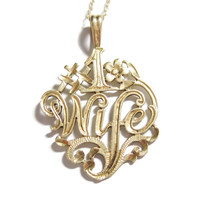14K Yellow Gold Number One #1 Wife Necklace